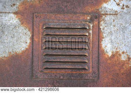 Rusty Ventilation Window. Very Old Ventilation. Soviet Ventilation Requiring Repair