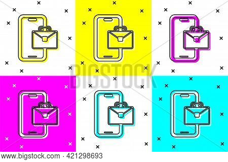 Set Freelancer Icon Isolated On Color Background. Freelancer Man Working On Laptop At His House. Onl