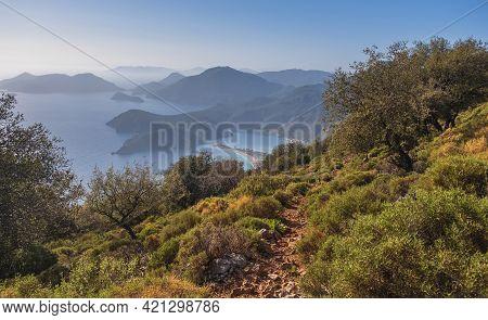 Lycian Trail Over Oludeniz Blue Lagoon In Mugla Province, Fethiye In Turkey