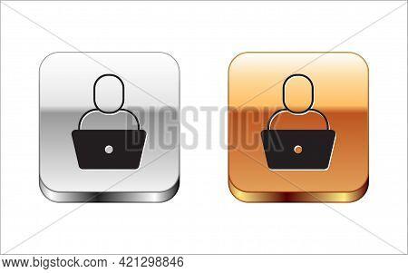 Black Freelancer Icon Isolated On White Background. Freelancer Man Working On Laptop At His House. O