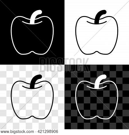 Set Apple Icon Isolated On Black And White, Transparent Background. Excess Weight. Healthy Diet Menu