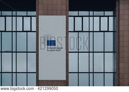 Brussels, Belgium - August 17, 2019: Sign On The Exterior Of European Council. The European Council