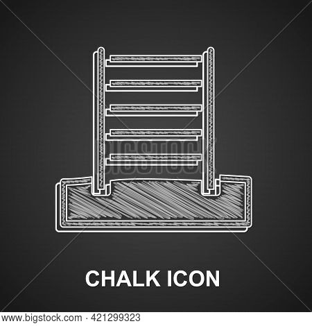 Chalk Wooden Swedish Wall Icon Isolated On Black Background. Swedish Stairs. Vector