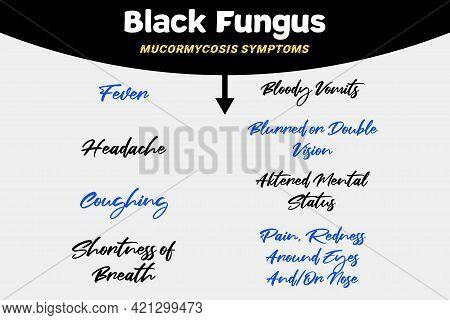 Black Fungus Disease Mucormycosis Symptoms Infographics Vector Illustration Design. Medical Backgrou