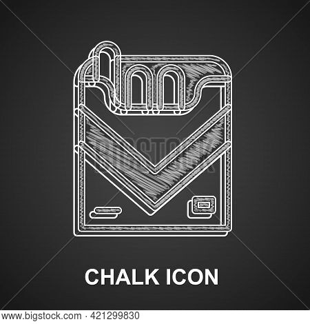 Chalk Cigarettes Pack Box Icon Isolated On Black Background. Cigarettes Pack. Vector