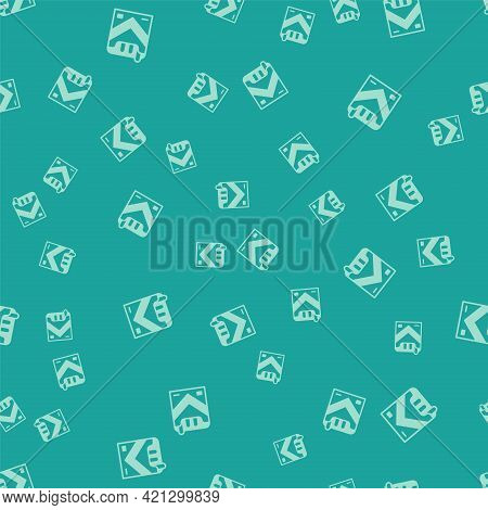 Green Cigarettes Pack Box Icon Isolated Seamless Pattern On Green Background. Cigarettes Pack. Vecto