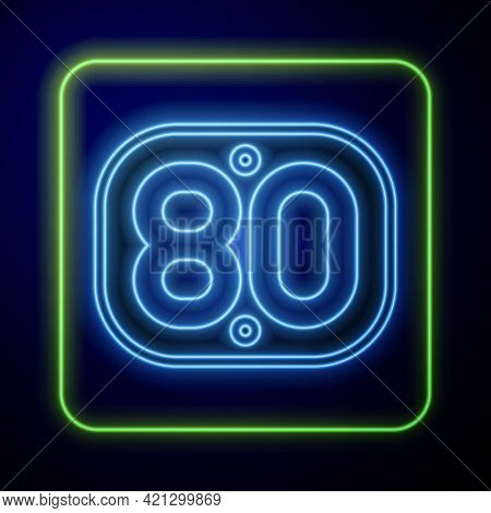 Glowing Neon 80s Retro Icon Isolated On Blue Background. Eighties Poster. Vector