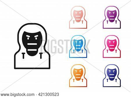 Black Thief Mask Icon Isolated On White Background. Bandit Mask, Criminal Man. Set Icons Colorful. V