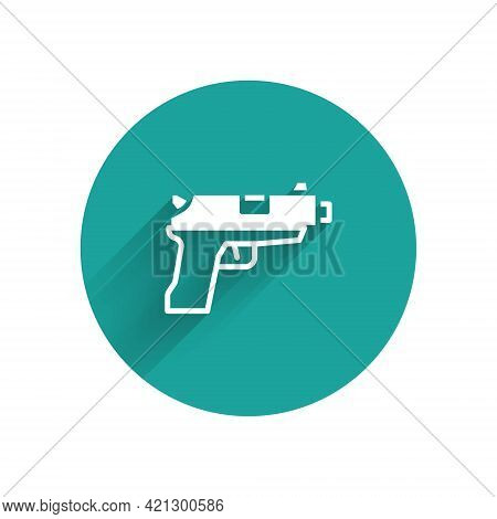 White Pistol Or Gun Icon Isolated With Long Shadow. Police Or Military Handgun. Small Firearm. Green