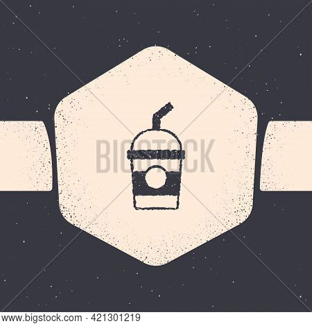 Grunge Milkshake Icon Isolated On Grey Background. Plastic Cup With Lid And Straw. Monochrome Vintag