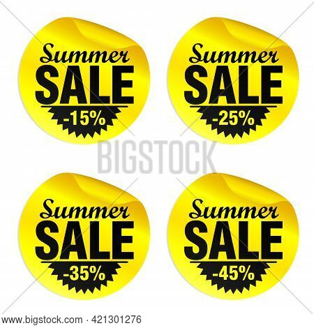 Summer Sale Yellow Stickers Set 15%, 25%, 35%, 45% Off. Vector Illustration