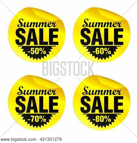 Summer Sale Yellow Stickers Set 50%, 60%, 70%, 80% Off. Vector Illustration