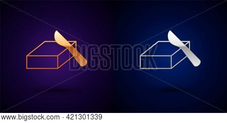 Gold And Silver Butter In A Butter Dish Icon Isolated On Black Background. Butter Brick On Plate. Mi