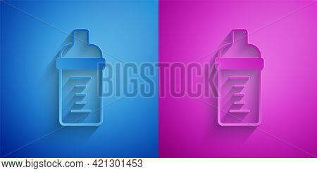 Paper Cut Baby Milk In A Bottle Icon Isolated On Blue And Purple Background. Feeding Bottle Icon. Pa