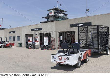 Indianapolis - Circa May 2021: Firestone Garage At Indianapolis Motor Speedway Preparing Tires For R
