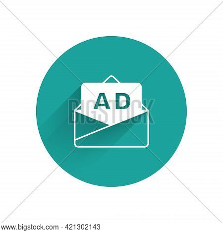White Advertising Icon Isolated With Long Shadow. Concept Of Marketing And Promotion Process. Respon