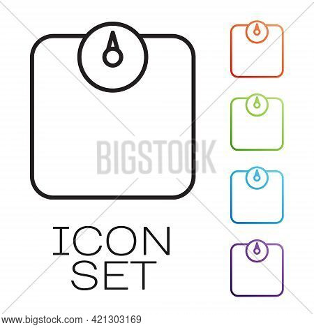 Black Line Bathroom Scales Icon Isolated On White Background. Weight Measure Equipment. Weight Scale