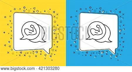 Set Line Bodybuilder Showing His Muscles Icon Isolated On Yellow And Blue Background. Fit Fitness St