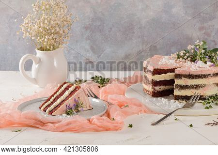 Slice Of Strawberry Cake, Strawberry Sponge Cake With Fresh Strawberries And Sour Cream On A Pink Ba
