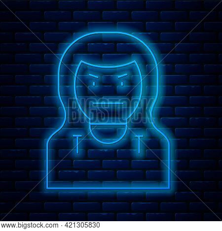Glowing Neon Line Thief Mask Icon Isolated On Brick Wall Background. Bandit Mask, Criminal Man. Vect