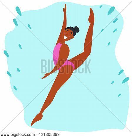 Juneteenth. Black History. Black Girl Doing Rhythmic Gymnastics.