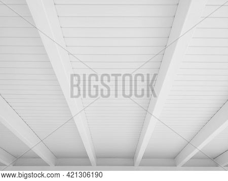 Reed White Roof Perspective Background. White Ceiling Beams Pattern Background. Architecture And Con