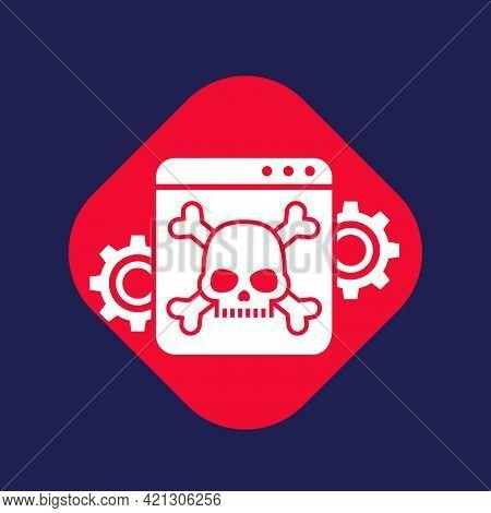 Computer Virus, Malware Attack Icon With Skull
