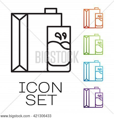 Black Line Paper Package For Milk And Glass Icon Isolated On White Background. Milk Packet Sign. Set