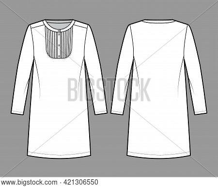 Dress Bib Pintucked Technical Fashion Illustration With Long Sleeve, Oversized Body, Henley Neckline