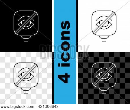 Set Line Blindness Icon Isolated On Black And White, Transparent Background. Blind Sign. Vector