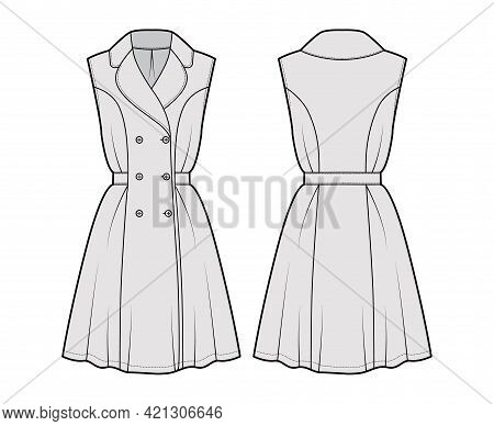 Dress Coat Trench Technical Fashion Illustration With Double Breasted, Sleeveless, Fitted Body, Knee