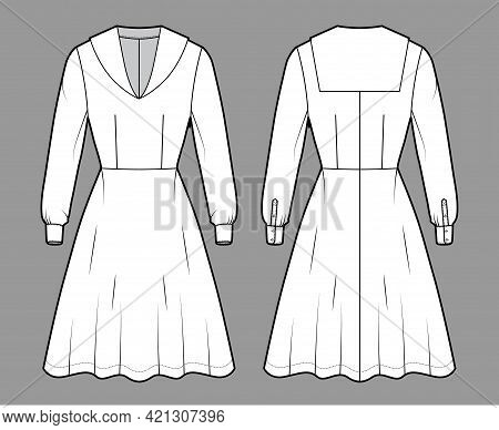 Dress Sailor Technical Fashion Illustration With Middy Collar, Long Sleeve With Cuff, Fitted Body, K