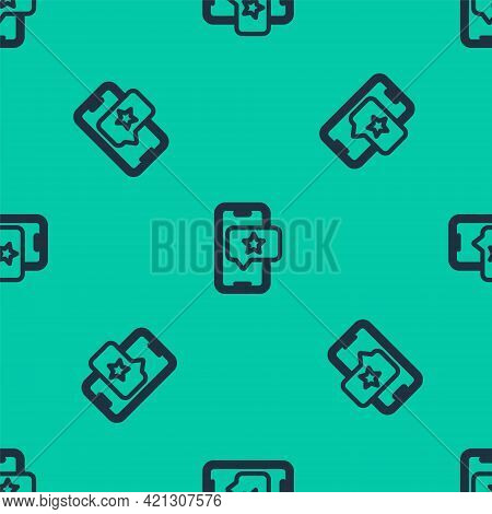Blue Line Mobile Phone With Review Rating Icon Isolated Seamless Pattern On Green Background. Concep