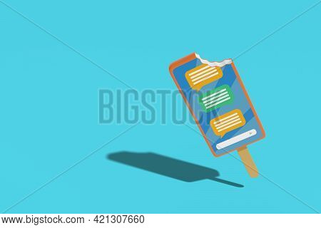 Mobile Phone Shaped Ice Cream With A Nibble. Cartoon Style. 3d Illustration.