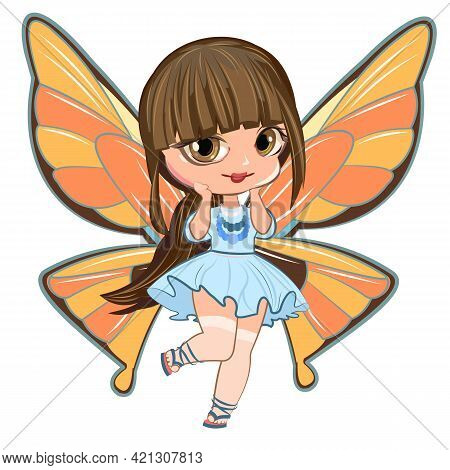 Little Girl In A Beautiful Dress With Butterfly Wings. Flirts. Beautiful Fashionable Fairy Child. Th