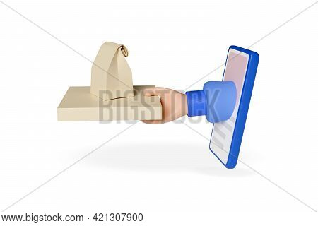 Hand With Pizza Box Sticking Out Of A Mobile Phone Screen Isolated On White Background. Cartoon Styl