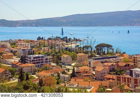 Beautiful  Mediterranean Landscape  On Sunny Summer Day.  Montenegro, Adriatic Sea, View Of Bay Of K