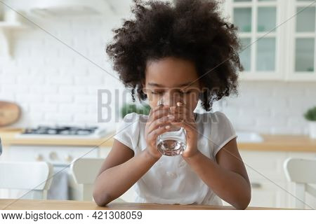 Thirsty African American Child Drink Clean Water