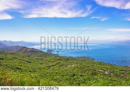 Beautiful Mediterranean Landscape With Lake On Sunny Spring Day. National Park Lake Skadar, Monteneg