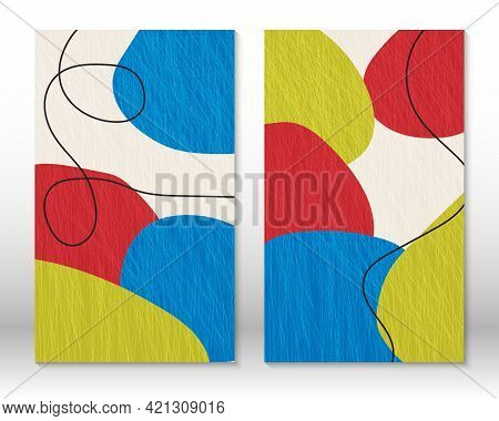Modern Abstract Painting. Set Of Fluid Textured Geometric Shapes. Abstract Hand Drawn Watercolor Eff