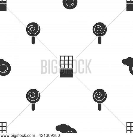 Set Scrambled Eggs, Chocolate Bar And Lollipop On Seamless Pattern. Vector