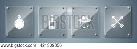 Set Crossed Arrows, Western Cowboy Hat, Tequila Bottle And Canteen Water. Square Glass Panels. Vecto
