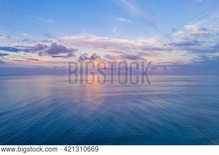 Sky Sea Beach. Panoramic Beach Landscape. Inspire Tropical Beach Seascape Horizon. Aerial Orange And