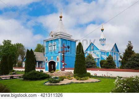 Wooden Church Of St. Paraskeva Friday In Chernavchitsy Village, Brest Region, Belarus.