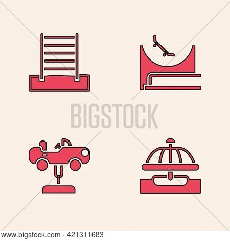 Set Attraction Carousel, Swedish Wall, Skate Park And Swing Icon. Vector