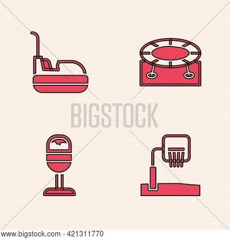 Set Basketball Backboard, Bumper Car, Jumping Trampoline And Trash Can Icon. Vector