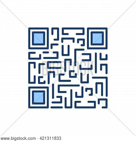 Qr Code Payment Scanning Symbol Isolated With Maze. Vector Illustration Of Editable Stroke Linear Ic