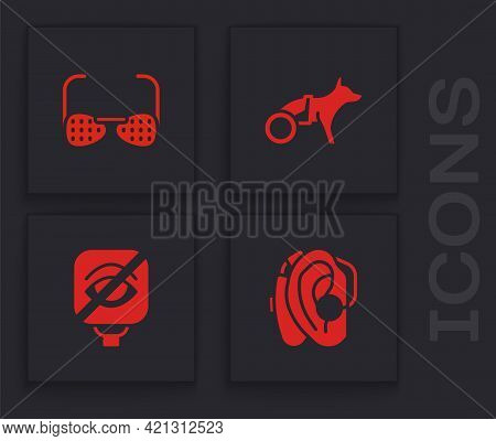 Set Hearing Aid, Blind Glasses, Dog Wheelchair And Blindness Icon. Vector
