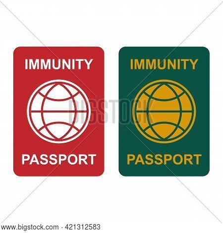 Covid-19 Immunity Passport. Coronavirus Immune Pass Icon. Corona Virus Vaccine Sertification Label S