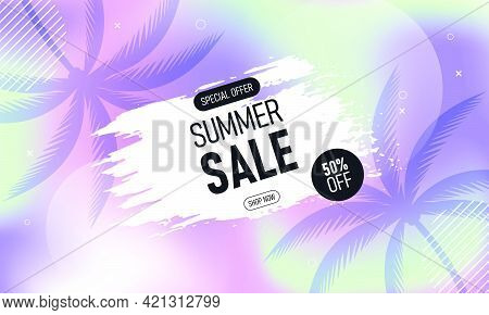 Summer Sale Banner Background With Palm Tree On Colorful Gradient Color. Abstract Background. Vector